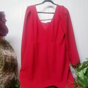 Lulu's Deep V-Neck Bodycon Red Dress Size XL